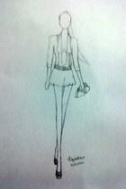 dark khaki purse - white shorts - dark khaki heels - white blouse - white belt