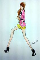 pink blazer - white top - yellow shorts - black boots - black necklace