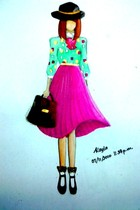 green shirt - magenta skirt - black shoes - white socks - dark brown - black hat
