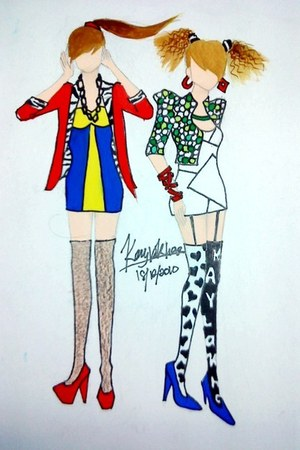 red blazer - blue dress - white jacket - white dress - white tights - black tigh