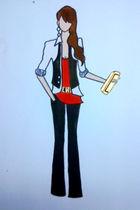 red top - white shirt - black vest - black pants - black belt - gold