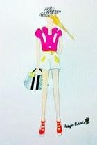 white hat - white bag - white shorts - orange wedges - magenta top