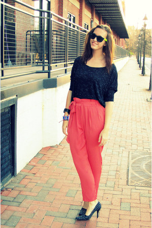 coral asos pants - black boutique blouse - black tweed Bandalino heels