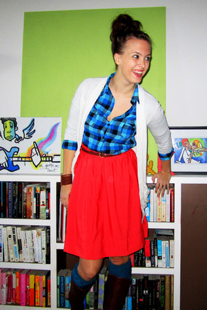 teal plaid Forever 21 blouse - cream Forever 21 cardigan - red H&M skirt