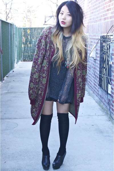 maroon vintage cardigan - black knee high socks Forever 21 socks