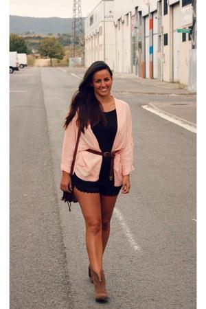 light pink Bershka blazer - light brown Zara boots - black pull&bear shorts