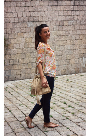 carrot orange Zara blouse - nude the code bag