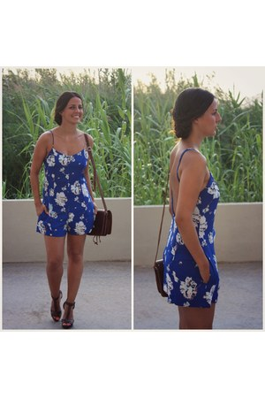blue Zara dress - dark brown Zara sandals