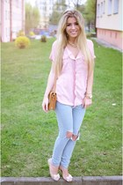 light pink Cozbest shirt - tawny romwe bag