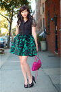Green-postlapsaria-skirt-black-nine-west-shoes-pink-rebecca-minkoff-bag-bl