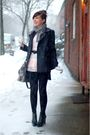 black shop mamie skirt - black shoes - black tights - gray coach bag - pink top