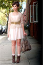 Brown-seychelles-boots-pink-h-m-dress-beige-coach-bag-beige-modcloth-blous