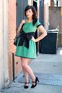 Green-h-m-dress-black-postlapsaria-belt-black-target-shoes
