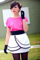 pink blouse - white postlapsaria skirt - black vintage gloves