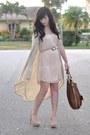 Light-pink-h-m-dress-brown-coach-bag-beige-threadsence-cardigan