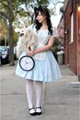 Blue-vintage-dress-dress-white-tights-black-target-shoes