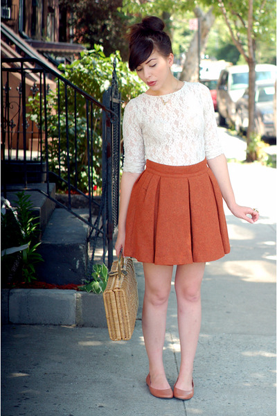 white top - brown BC footwear shoes - brown H&M skirt