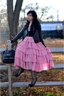 Pink-asian-icandy-skirt-black-coach-jacket-black-nine-west-shoes-black-dkn