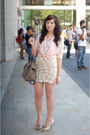 Pink-thrifted-blouse-beige-spotted-moth-skirt-beige-nine-west-shoes-beige-