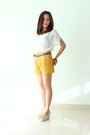 Off-white-wedges-mustard-shorts-navy-leather-belt-ivory-sheer-top