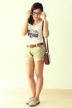 dark brown bag - cream shirt - beige shorts - tan polka lace ups flats