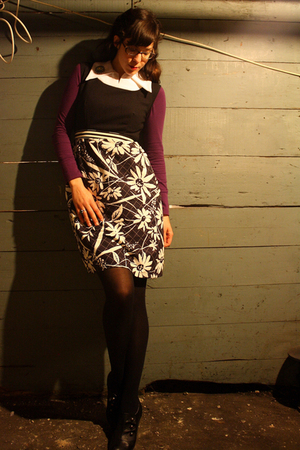 purple Target shirt - black Target boots - black vintage dress