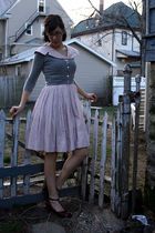 pink vintage dress - brown Borne shoes - gray thrifted sweater