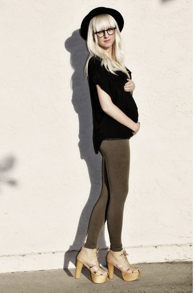 army green free people leggings - black Anthropologie blouse - tan Jeffrey Campb