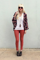 deep purple kimono Jack by BB Dakota jacket - white Victorias Secret t-shirt