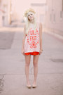 Nude-h-m-shoes-red-urban-outfitters-dress-peach-wildfox-top