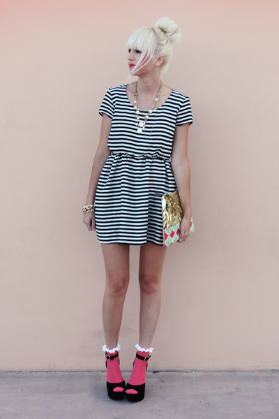 black H&amp;M dress - gold Anthropologie bag - hot pink asos socks