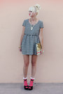 Black-h-m-dress-gold-anthropologie-bag-hot-pink-asos-socks