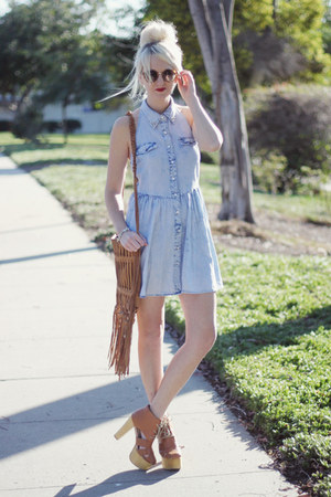 brown linea pelle bag - light blue PacSun dress - brown Jeffrey Campbell heels