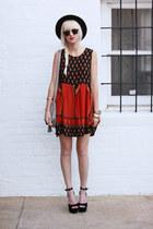 ruby red MinkPink dress - black vintage hat - silver H&M bag