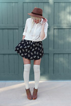 black Urban Outfitters skirt - off white H&M blouse
