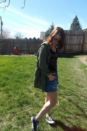 Wet Seal jacket - Converse jacket - American Eagle skirt - vintage top
