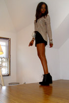 Michael Kors boots - sequin f21 shirt - vintage bag - Express shorts