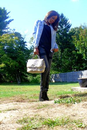 reptile print vintage bag - lace up Michael Kors boots