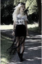 black fringed PacSun skirt - black combat Bianco boots