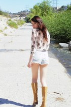 mustard vintage verde boots - light blue cut offs J Brand shorts