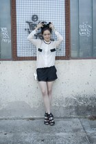 PERSUNMALL shorts - Choies bag - Ippolitan sandals - PERSUNMALL blouse