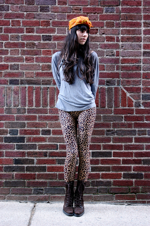 vintage hat - American Apparel shirt - vintage leggings - vintage boots