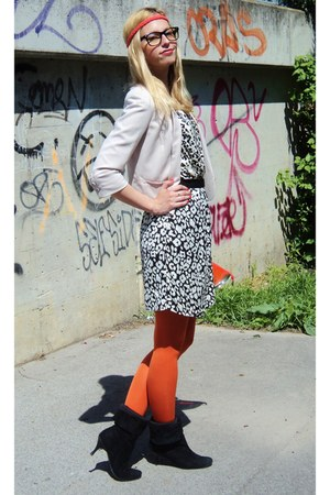 orange H&M tights - black vintage boots - ivory Mango dress - beige H&M blazer