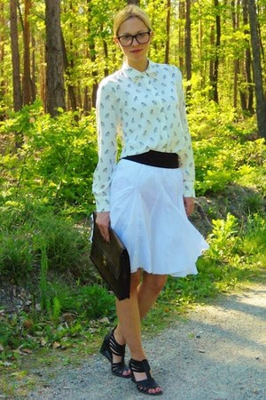eggshell Zara blouse - brown vintage bag - white H&amp;M skirt