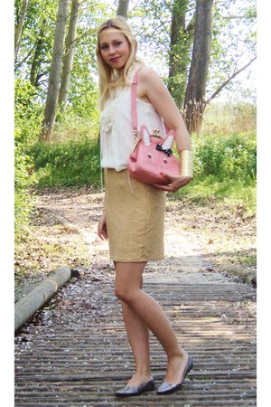 bubble gum Xiao Xiang bag - gold H&amp;M skirt - off white Zara top
