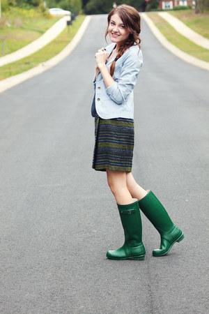 wool thrifted skirt - Hunter boots - f21 blazer