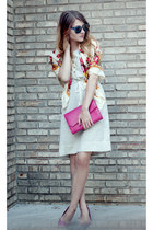 floral f21 scarf - merona dress - hot pink f21 heels