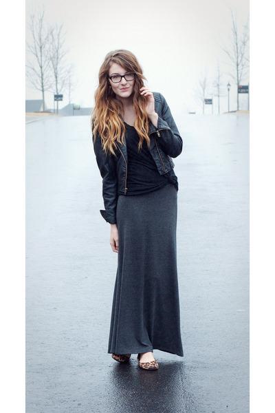 maxi Nordstrom skirt - leather Lauren Conrad jacket - leopard print Target flats