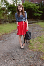 striped f21 shirt - leather coach bag - UO skirt