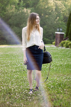 H&M blouse - theIT bag - denim banana republic skirt - H&M sandals